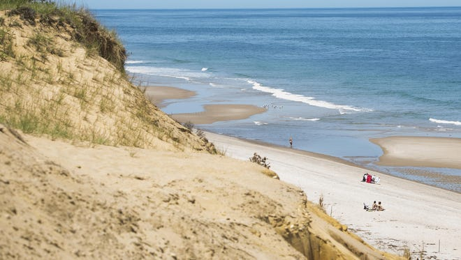 Looking down from the dunes at White Crest Beach in Wellfleet, Mass.