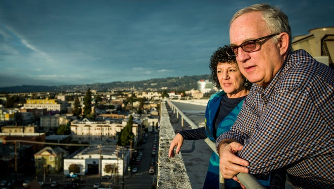 Mitch and Freada Kapor on the roof of the downtown Oakland, Calif., offices of The Kapor Center for Social Impact.
