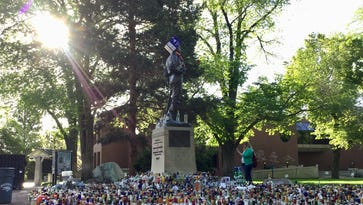 The UNR student tradition of leaving booze for John Mackay's statue is, umm, intensifying