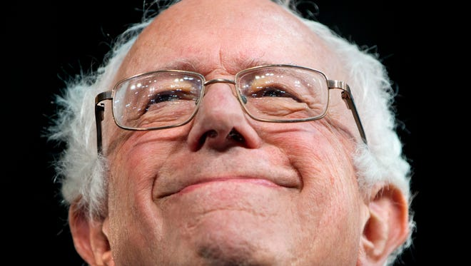 Democratic presidential candidate, Sen. Bernie Sanders, I-Vt. smiles while speaking at the Kansas City Convention Center during a campaign event in Kansas City, Mo., Wednesday, Feb. 24, 2016.