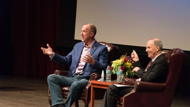 Jim Kelly speaks at Wednesday's Power Forward event presented by First Commerce Credit Union. The hour-and-a-half discussion was moderated by Andy Serwer, editor-in-chief of Yahoo Finance.