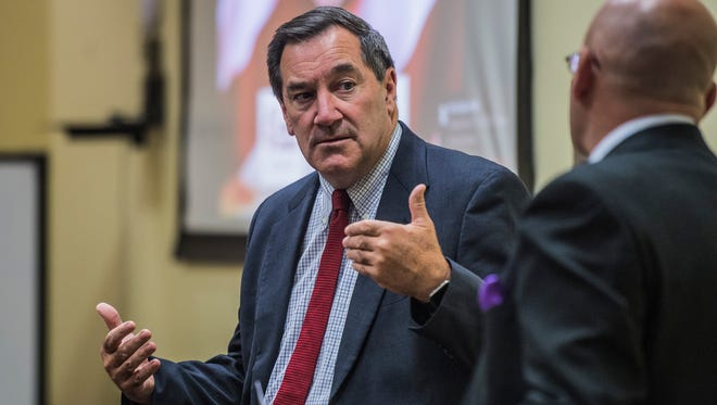 Sen. Joe Donnelly (D-Ind.) speaks to a group of gathered citizens at the Innovation Center in downtown Richmond on Monday, July 31, 2017.