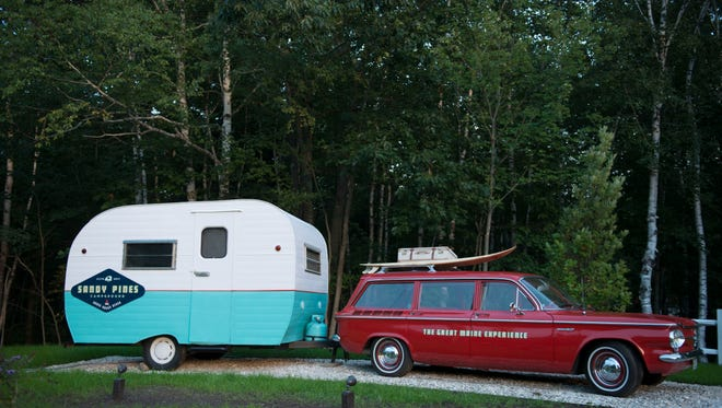 A vintage camper at Sandy Pines Campground in Kennebunkport, Maine.