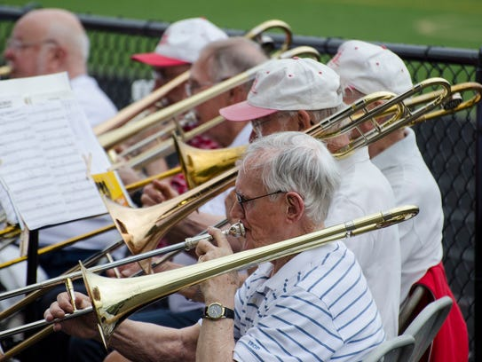 Members of the Corning Area Concert Band's trombone