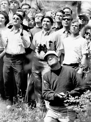 Billy Casper hit out of a trap during the Masters playoff