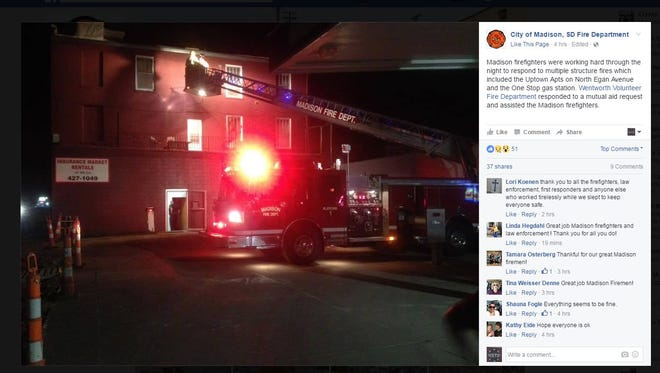 The Madison Fire Department posted a photo on its Facebook page of firefighters working to extinguish an apartment fire early Sunday.
