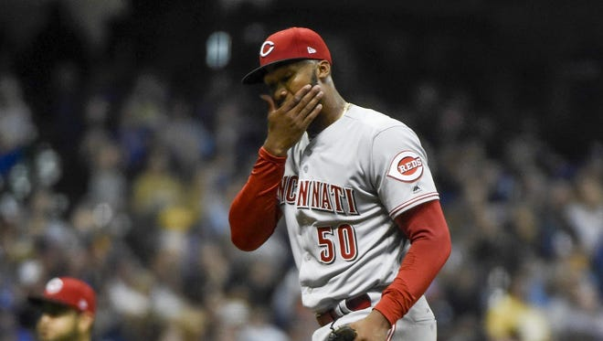 Reds lefty Amir Garrett allowed 10 runs in 3 1/3 innings against the Brewers on Monday.