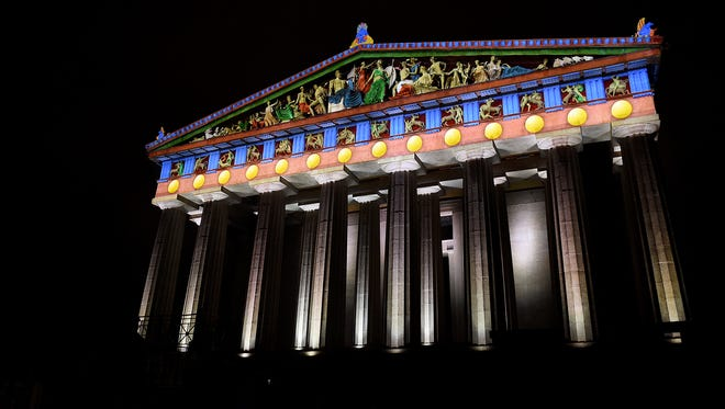 The Nashville Parthenon was lit with projection 3-D mapping by Tokyo Broadcasting Systems for a TV show.
