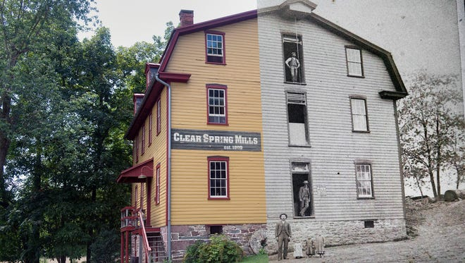 A 19th century photo and a current photo seamed together of the grist mill at Clear Springs Mill.