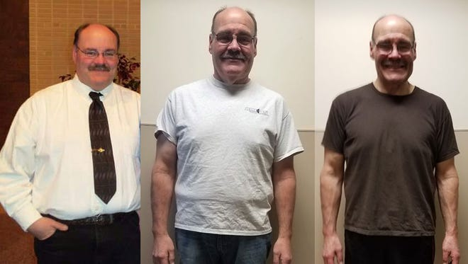 Ben Stock, men's winner of Lean on the Lakeshore 2017. Stock lost 36.4 pounds during the 100-day challenge. His photos are from prior to weight loss, the start of the challenge and the end of the challenge.