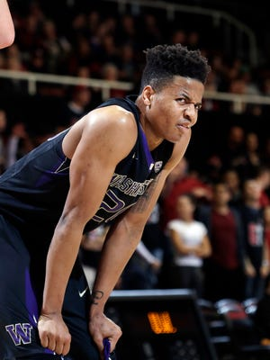 Washington guard Markelle Fultz reacts during the second half of a loss at Stanford on Saturday.