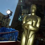 Oscar statues are seen on the red carpet the day before the Academy Awards at Hollywood and Highland on February 28, 2004 in Hollywood, California.
