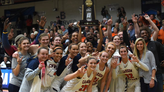 The Carson-Newman women's basketball team celebrates their NCAA Division II Southeast Region title with fans on Monday, March 12, 2018 Monday night at Holt Fieldhouse in Jefferson City.