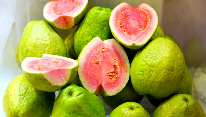 The guava is an egg-shaped fruit with a flavor that hints of honey, melon and strawberries.