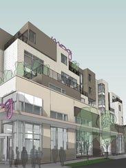 A rendering of the Moxy Nashville Vanderbilt Hotel.