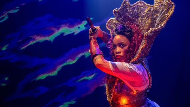"""Live, in-person theater during a pandemic? The Vortex is finding a way to make it work in a socially distanced way, with artists like Allegra Jade Fox, who plays Athena in """"The Vortex Odyssey."""""""