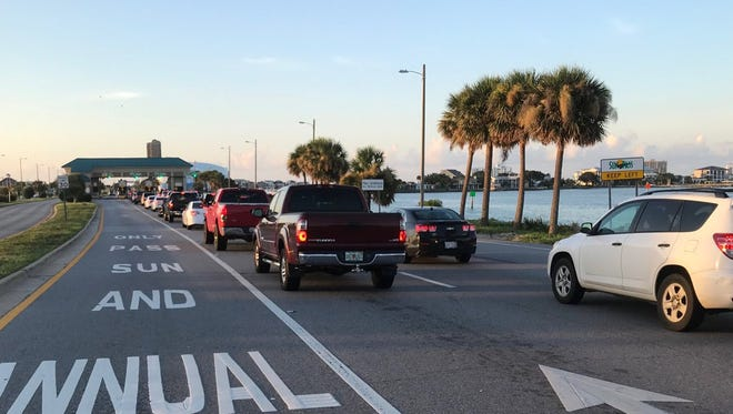 Traffic backs up at the Bob Sikes Toll Bridge July 14 as huge crowds head to Pensacola Beach for the Blue Angels Air Show.