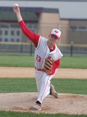 RV freshman Bryce Mangene delivers a pitch during Thursday's game against Pennsauken.