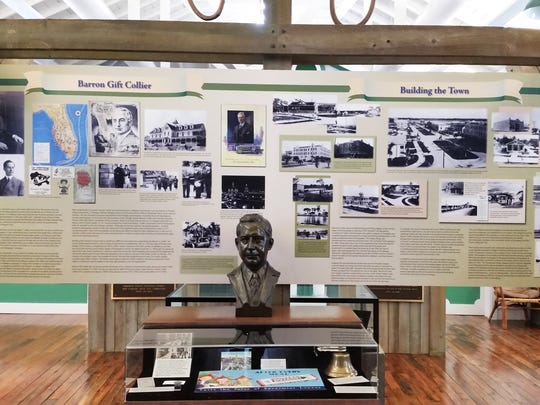 A display at the Museum of the Everglades tells visitors about the life of Barron Gift Collier and the construction of Everglades City on Tuesday, Aug. 2.