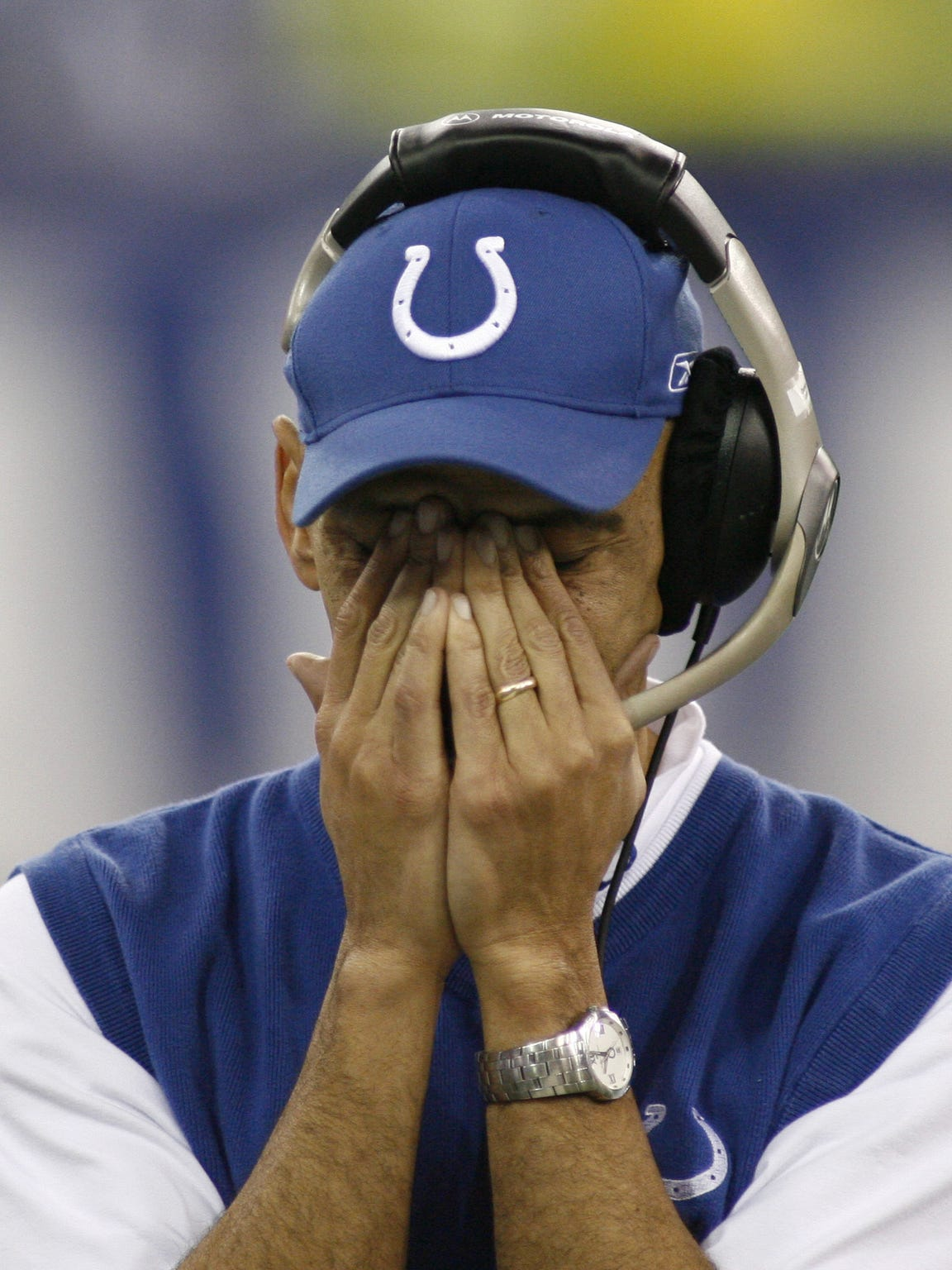 Tony Dungy during the Colts' final possession.