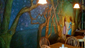 The interior of Bushwhacker Cider is covered in a large-scale, charming mural.