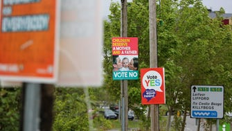 Posters for and against same-sex marriage are seen in Donegal, Ireland, on May 21.
