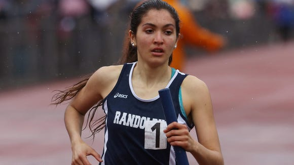 Randolph's Brooke Olsen anchors the distance medley at Summit Relays.
