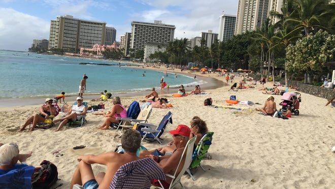 Waikiki in Honolulu is the most famous stretch of beach on Oahu, Hawaii.