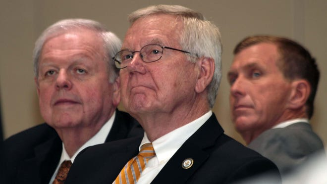 State Rep. Frank Hoffmann, center, pictured in 2015 with state Rep. Bubba Chaney, left, and state Sen. Mike Walsworth, sponsored the bill that would increase the waiting period on abortions to 72 hours. The bill easily passed the House, and it moves to the Senate next.