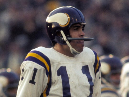 Vikings quarterback Joe Kapp in action  against the Chiefs during Super Bowl IV at Tulane Stadium. The Chiefs defeated the Vikings 23-7.