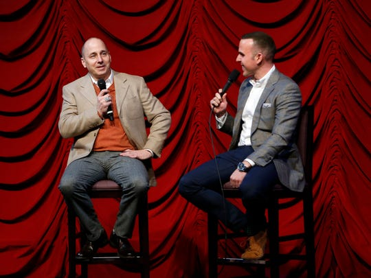 New York Yankees general manager Brian Cashman, left, speaks to YES network broadcaster Ryan Ruocco onTuesday, Jan. 17, 2017, in New York.  Ruocco, a Fishkill native, is calling the Yankees' game against the Rays on Thursday in place of John Sterling.