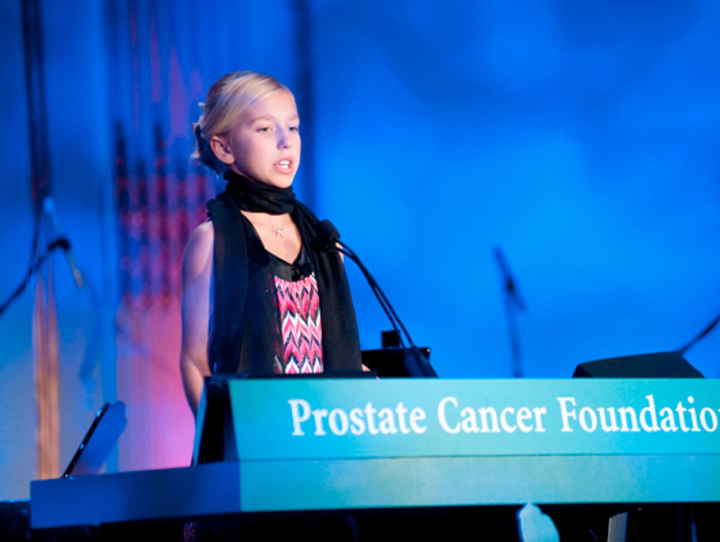 Winter Vinecki  speaks at a Prostate Cancer Foundation