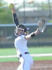 ACU freshman Sidney Holman throws a pitch in the fifth inning against Texas A&M-Corpus Christi. She allowed five hits in an 11-0 victory over the Islanders in five innings in Game 1 of a doubleheader Friday, March 31, 2017 at Poly Wells Field.