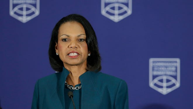 Condoleezza Rice speaks during a news conference at the NCAA headquarters, Wednesday, April 25, 2018, in Indianapolis. The Commission on College Basketball led by Rice released a detailed 60-page report to respond to a federal corruption investigation that rocked college basketball.
