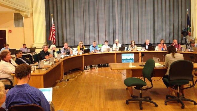Jill Krowinski of Planned Parenthood Northern New England addresses the Burlington City Council on Monday night.