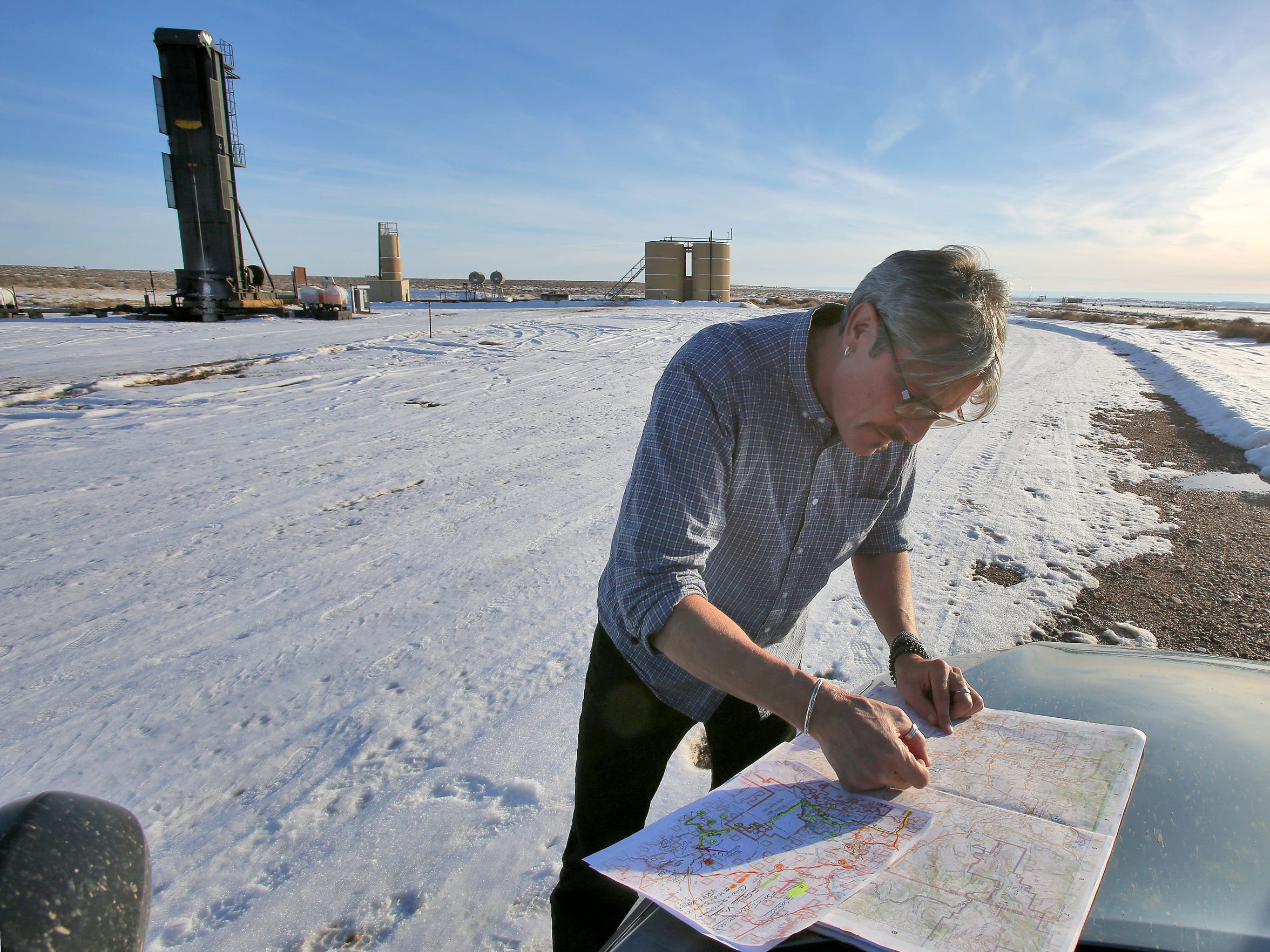 Tim Ream of WildEarth Guardians explores oil and gas country near Vernal, Utah.