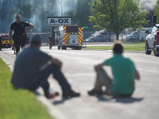 Crews battle a structure fire Thursday, May 17, at the A-OX Welding Supply Company in Sioux Falls.