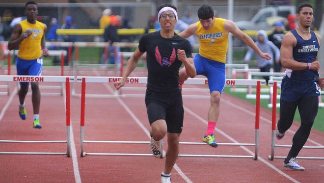 Adam Khriss of Secaucus, took gold in both the 110 high hurdles in 15.64 seconds and the 400 hurdles at the North 2, Group 1 state sectional championship. Khriss also took second in the 400 in a personal best 50.42 seconds.