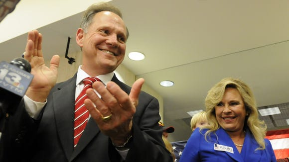 Chief Justice-elect Roy Moore gives his victory speech in Montgomery, Ala., on Tuesday, Nov. 6, 2012, after defeating Bob Vance for the seat he was removed from in 2003. (Montgomery Advertiser, Amanda Sowards)