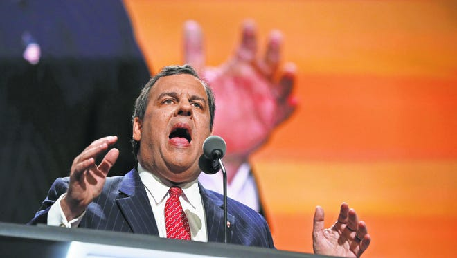 Gov. Chris Christie attacks Hillary Clinton in a speech on the second day of the Republican National Convention.