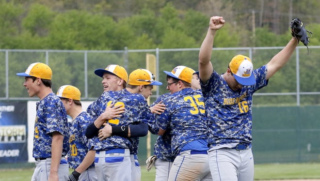Trumansburg pitcher Jake Shelley, right, celebrates along with his teammates after their 2-1 win over Tioga in the IAC Small School baseball final Thursday at Elmira's Dunn Field.