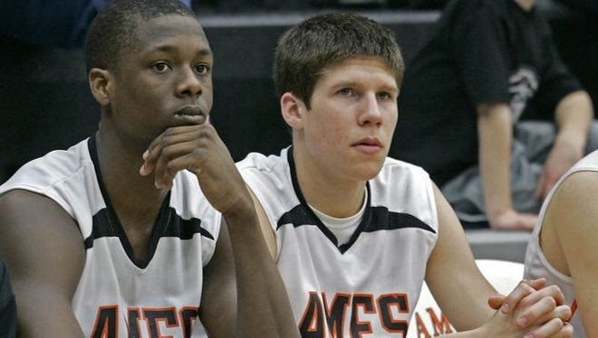 FILE -- Harrison Barnes (left) and Doug McDermott guided Ames to back-to-back state titles before successful college and NBA careers. Ames High School basketball players #40 Harrison Barnes, left, and #42 Doug McDermott, right, watched from the bench during game against Ft. Dodge at Ames gymnasium on Feb. 12, 2009.