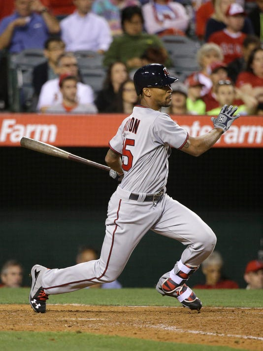 Minnesota Twins' Byron Buxton watches his RBI double against the Los Angeles Angels during the sixth inning of a baseball game Tuesday, June 14, 2016, in Anaheim, Calif. (AP Photo/Jae C. Hong)