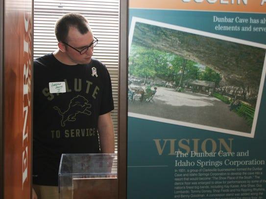 Spc. Kyle Hagenbuch views exhibits at the Custom House