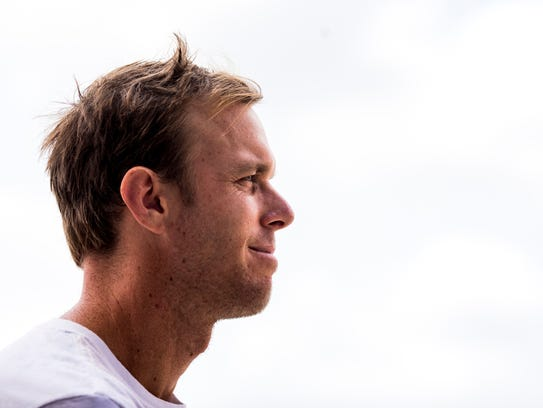 Sam Querrey answers questions during media interviews