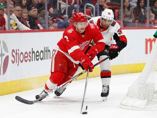 Red Wings defenseman Nick Jensen (3) skates with the