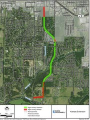 A map of the planned Kansas Expressway Extension project.