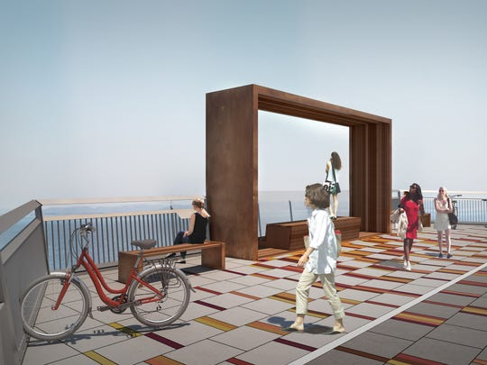 A rendering of the shared bike-walking path coming