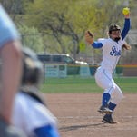 Dani Wagner delivers a Havre pitch during Saturday's home game against Conrad-Choteau.