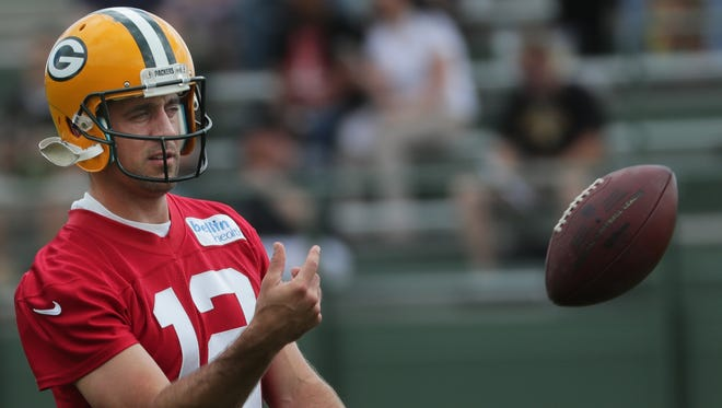 Green Bay Packers quarterback Aaron Rodgers at OTAs on Thursday in Green Bay.